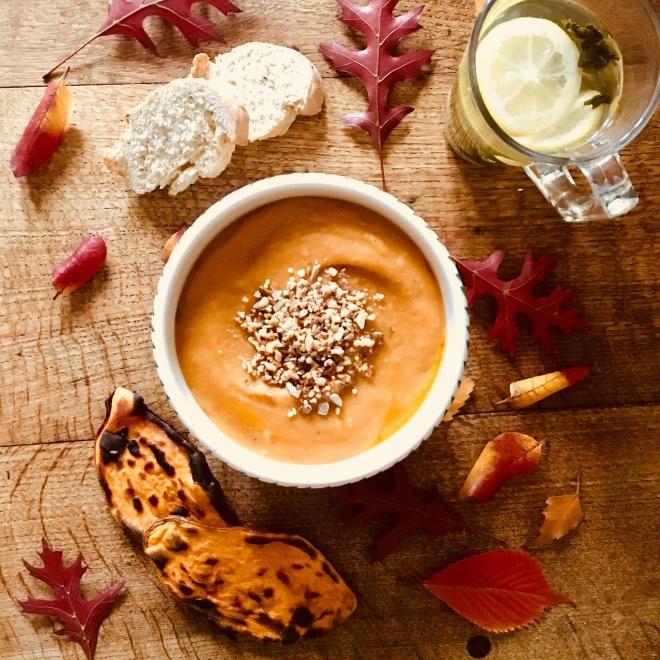 Sweet potato butternut squash autumn soup