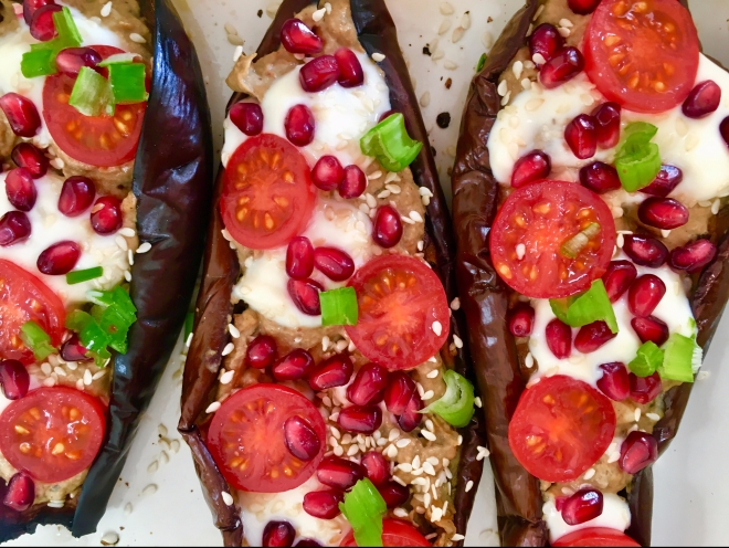 Vegan stuffed aubergines